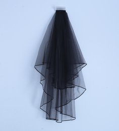 Wholesale Black Net Veil - Newest Elegant Two Laters Black Short Bridal Veils Satin Edge Bridal Wedding Veils Voile De Mariee Head Veils
