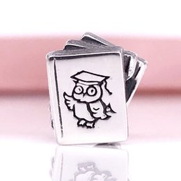 Wholesale European Owls - 925 Sterling Silver Study Books With Owl Charm Fit European Pandora Style Jewelry Bracelets Necklaces & Pendant 790536