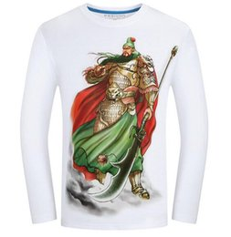 Wholesale Brown Wrinkle Paint - Sales Chinese painting long sleeve Plus size S~6XL Helloween t shirts 3D Graphic Crew neck Funny skull animal pirate Men tee polos