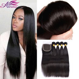 Wholesale Top Knots Hair Wholesale - Amazing Brazilian Straight Hair With Closure Top 4*4 Bleached Knots Cheap 3 Bundles Straight Virgin Hair With Lace Closure