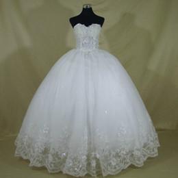 vestido de novia moderno en capas de tul Rebajas Vestido de novia de encaje de lujo elegante de alta calidad Vintage vendaje tallas grandes vestidos de bola Vestido De Noiva hecho a medida color marfil