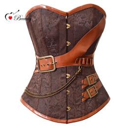 Wholesale Steel Breast Belt - 2016 Corselet Sexy Lingerie Women Corset Overbust Brown Breast Binder Steel Bone Steampunk Belt Sexy et Bustiers