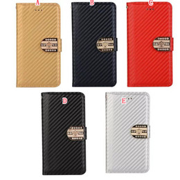 Wholesale Crown Pouch Flip - Leather Wallet Flip TPU Case Pouch For Iphone 8 7 iphone7 Plus Carbon Fiber Crown Diamond Metallic Stand Hybrid Rhinestone Purse Cover Skin