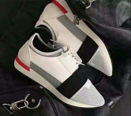 Wholesale Great Leather - Great Quality Casual Women Shoes Gray and printed Race Runner Fabric Leather And Suede Sneakers Chaussure De Sport Women Shoes Zapatos Mujer