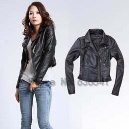 Wholesale Short Leather Jackets For Ladies - High Quality Leather Jacket For Women Outerwear Jacket And Coat Female Biker Jacket Ladies PU Leather Clothes