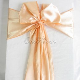 "Wholesale Chair Covers Peach Sash - Peach   Apricot 6""x108"" Satin Chair Cover Sash Decor for Wedding Event Party Supply Decoration Products"