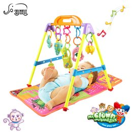 Wholesale Gym Baby Pad - Wholesale- Baby Soft Play Mat Blanket Crawling Toys Infant Fitness Rack Carpet with Musical Rattles Gym Rug Pad Develop Toy for Children