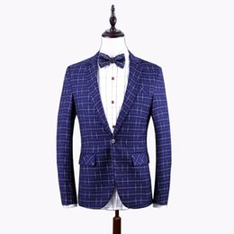 Wholesale Blazer Mens Clothing - 2017 Autumn New Fashion Men's Blazer Plus Size Plaid Blazer Mens Clothing Trend Casual Slim Fit Dress Suit Work Jacket Men 6XL