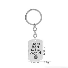 Wholesale Custom Engraved Tags - 'best dad in the world 'Custom Personal Key Tag engrave Lettering Metal Chain Key Ring Design Dad Men Couple Gift Keychain Jewelry