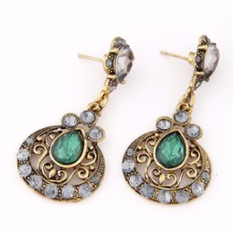 Wholesale Ethnic Crosses - Antique Ethnic Brincos Femme Created Gemstone Drop Earrings for Women Fashion Orecchini Donna Pendientes Jewelry