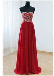 Wholesale Prom Decorations Cheap - Stunning Red Evening Dresses Chiffon Long Prom Gowns Sweetheart Sleeveless Zipper Back Shining Sequins Beads Decorations Cheap Party Wear