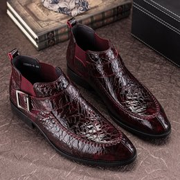Wholesale Mens Business Ankle Boot - New arrive men's patent leather short boots luxury fashion mens genuine leather business boots banquet shoes