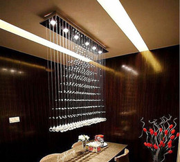 Wholesale Square Crystal Ceiling Lamp - 3 5 6 Heads Modern Crystal LED Ceiling Lights Fixture Rain Drop Curtain Lustre Hanging Square Ceiling Lamp Lustres De Teto LLFA