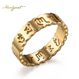 Wholesale Mani Padme - Wholesale- Meaeguet Om Mani Padme Hum Rings For Men Gold-Color Hollow Ring 5MM Stainless Steel Jewelry For Male