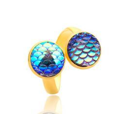 Wholesale gold drusy ring - 2018 Fashion Silver Plated Mermaid Fish Scale Drusy Druzy Adjustable Ring For Women Men Lady Jewelry