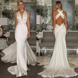 Wholesale Satin Mermaid Wedding Dress Belt - 2017 Beach Mermaid Wedding Dresses Sexy Simple Cross Belt Open Back Casual Deep V Neck Ruched sleeveless Bridal Gown With Sweep Train