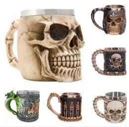 Taza taza del cráneo online-¡PC 1! Las tazas del cráneo del regalo de Hollaween las tazas del acero inoxidable graban la personalidad de la copa del cráneo decoración divertida de la taza para el partido Hollaween
