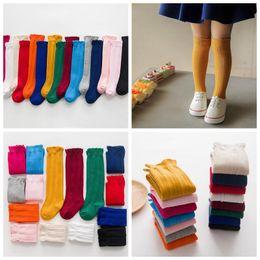 Wholesale Wholesale Toddler Socks - Newborn Knee High Girls Baby Socks Soft Ruffle Toddler Infant Breathable Long Socks Cotton Spring Autumn Baby Hosiery