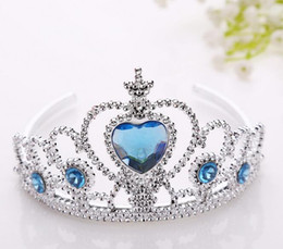 Wholesale Children Crowns Tiaras Plastic - 2017 Frozen Children Crown Princess Anna Elsa Crown girl toy Princess tiara Headdress Cartoon G616