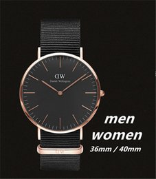 Wholesale Leather Watch Red Face - New Fashion Black face Wellington Watch 40mm men watches 36mm Women Watches Luxury Brand Quartz Watch Female Clock Relogio Montre Femme