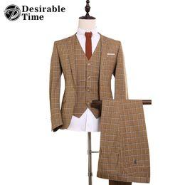 Wholesale Vintage Mens Blazers - Wholesale- Mens Vintage Yellow Plaid Suits Size S-3XL 2017 Fashion Men Three Piece Party Dress Suit Slim Fit DT127