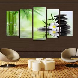 Wholesale Canvas Wall Art Bamboo - Framed 5 Panels set Bamboo stone,genuine Hand Painted Contemporary Home Decor Wall Art Oil Painting On Canvas.Multi sizes Free Shipping 014
