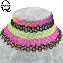 Wholesale Plastic Tattoo Necklace - Wholesale- ASQUEEN Q Brand Vintage Stretch Tattoo Choker 90s Necklace Retro Gothic Punk Elastic 80s 90s vogue Black Colorful Free Shipping