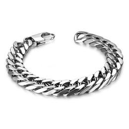 Wholesale Vintage Diamond Bracelets - Vintage Fashion Jewelry Men Stainless Steel Bracelet Bling High Polished Curb Chain Bracelet Hip Hop