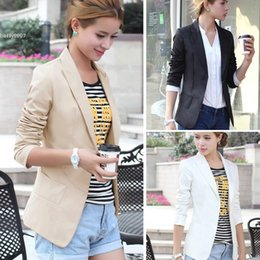 Wholesale Working Clothes Styles For Women - New jackets for women clothes European Style OL Wear to Work Stylish Suit Jacket Coat Black White Khaki