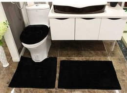 Wholesale acrylic bathroom set - Fashion black white 4-piece bathroom mats set shaggy brand new toilet bath mat 2-piece bath cover