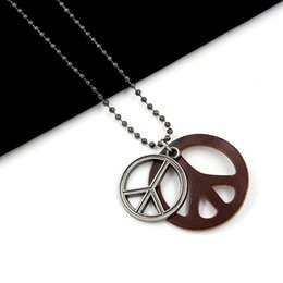 Wholesale Peace Slide Charm - 2017 Peace Sign Pendant Necklaces for Men and Women Leisure Genuine Leather Charm Retro Crafts Sweater Chain Fashion Jewelry