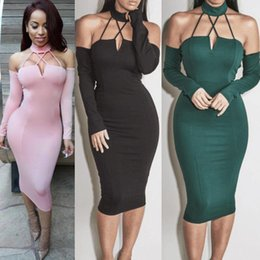 Wholesale Long Sleeve Dance Dress Women - Women Bodycon Bandage Dress New Sexy Red Green Black Hang Neck Backless Hot Lady Dance Party Dress Casual Vestidos #001 52