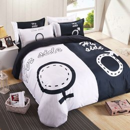 Wholesale White Black Bedding Set Queen - 2017 hot sell Bedding her series Europe and the United States contracted 3D four sets of lovers