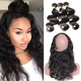 Wholesale 4pcs Weave - Pre Plucked Brazilian Body Wave Hair Weaves With 360 Lace Band Frontal Virgin Human Hair With Bady Hair 4pcs lot