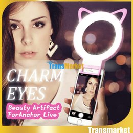 Wholesale Huawei Cat - Photo camera ear Phone Pink Selfie Fill LED Light Portable Round Ring Flash for iPhone Samsung HTC Huawei Smartphone cat ear