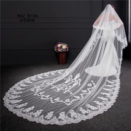 Wholesale Glamourous Lace - MOOZ BRIDAL Brand Wedding Veils 2016 New Real Images Two Layers 3m Width 3.5-Meter Length Lace Edge Glamourous Bridal Veil with Metal Comb