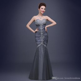Wholesale Grey Organza Mermaid Dress - 2017 Mermaid Pageant Dresses with Crystals Strapless Sleeveless Grey Celebrity Evening Dresses Plus Size Prom Dresses With Rhinestones