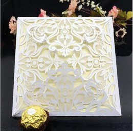 Wholesale Lace For Invitations - Wholesale- 200pcs a lot laser cut hallow out wedding invitation cards white elegant fancy decoration Cards with lace for the party