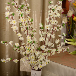 Wholesale Artificial Cherry Blossom Trees - 100Pcs Artificial Cherry Spring Plum Peach Blossom Branch Silk Flower Tree For Wedding Party Decoration Free Shipping