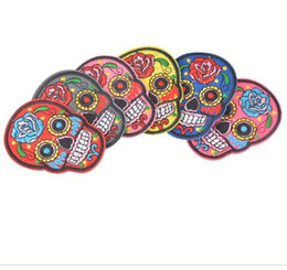 Wholesale Net Pictures - Iron On Patches Clothes DIY Flowered Skull Embroidered Patches For Clothing Fabric Badges Sewing Patches