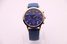Wholesale Le Battery - The new 2017 men's brand AEHIBO, blue leather strap, silver dial, gold watch ring, golden pointer, VK quartz movement, super timer, men's le