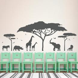 Afrika Safari Hayvan Duvar Sticker Ağacı Duvar Çıkartması Doğa Zürafa Duvar Sanat Kreş Dekor DIY nereden