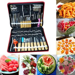 Wholesale Carving Fruit Vegetables Tools - 80Pcs set multifunction watermelon fruit Carving Tools Kit Portable Vegetable Food Carving Chisel Kitchen Cutting Tools Chef Kit