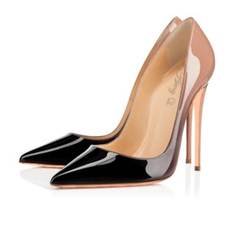 Wholesale Shoe Nude Patent Leather - 2016 Sexy Women Black And Nude Gradient Patent Leather Pointy Evening Dress Pumps High Heels Ladies Party Shoes Free Shipping