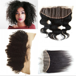 Wholesale afro kinky straight hair - G-EASY Mongolian afro kinky curly lace frontal 13*4 virgin human hair afro hair swiss lace for african american BW Kinky Straight Closure