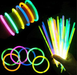 Wholesale Kids Led Flashing Necklaces - Multi Color Hot Glow Stick Bracelet Necklaces Neon Party LED Flashing Light Stick Wand Novelty Toy LED Vocal Concert LED Flash Sticks DHL