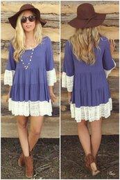 Wholesale Womens Summer Dress Shirts - Womens Summer Casual Lace Panelled Mini Dress Loose Women T-shirt Dresses Women's Clothing