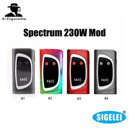 Wholesale Led Spectra - 100% Authentic Sigelei Kaos Spectrum 230W Box Mod Powered By 2 18650 Batteries 6 Changeable LED Colors E Cigarette Vape Mod