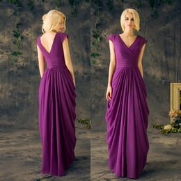 Wholesale Long Shirts For Women Simple - Plus Size Mother Of The Bride Dresses Formal Long Gowns Purple Chiffon A Line Floor Length Pleats 2017 Party Dresses For Women EV134