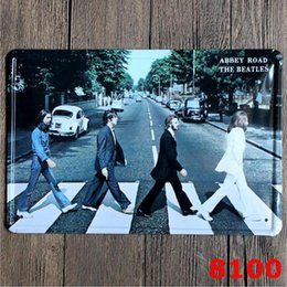 Wholesale Vintage Beatles Poster - The Beatles Vintage Tin Poster Music Band Singer Stars Metal Tin Signs Beatlemania Iron Painting 20*30cm Star Walls Decorative